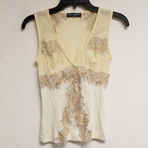 Dolce & Gabbana Cream Lace Trimmed Tank Top 38
